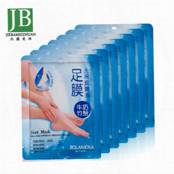 Rolanjona Feet Mask Milk And Bamboo Vinegar Feet Mask Skin Peeling Exfoliating Regimen For Feet Care 2pcs=pair Free Shipping