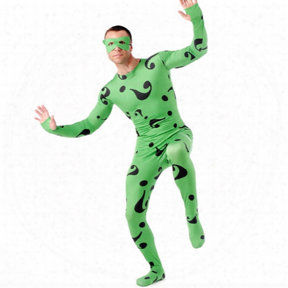 The Riddler Costume Halloween Costumes For Men Adult Batman Superhero Carnival Cosplay Full Bodysuit Zentai Wholesale