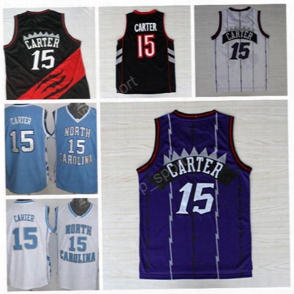 Throwback 15 Vince Carter Jersey Men North Carolina Basketball Vince Carter College Jerseys Stitched Sport Color Team Purple White Black