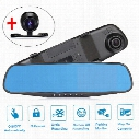 "4.3"" 1080P HD Car DVR Vehicle Dual Lens Anti-glare Blue Mirror Video Driving Recorder Wide Angle 1200W Pixel Dash Camera"