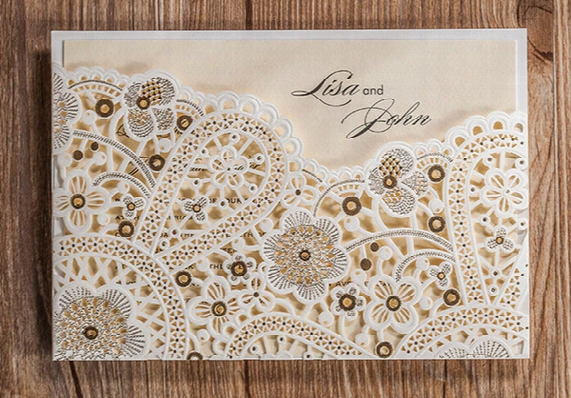 Wedding Invitations Champagne Paper Blank Card Laser Cutting Lace Pattern Wedding Invitation Flowers Hollow Wedding Cards Iv02
