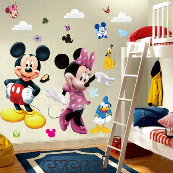 Wholesale- 3d Cartoon Mickey And Minnie Mouse Wall Stickers Kids Baby Nursery Bedroom Decals Home Decor The Little Prince Kids Gift *