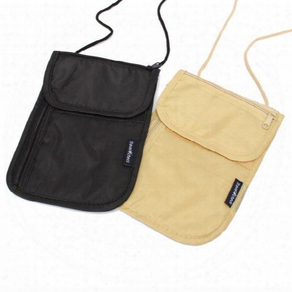 Wholesale- Fashion Wallets Women Nylon Polyester Money Purse Neck Purse Travel Storage Bag Cards Passport Holder Neck Tickets Bag Pouch