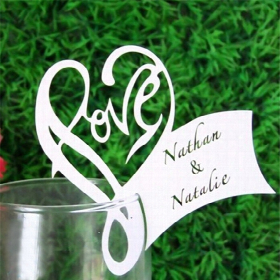 Wholesale-paper Laser Cut Love Heart Table Name Place Escort Cup Card Wine Glass Cards Wedding Baby Shower Party Decorations 50pcs