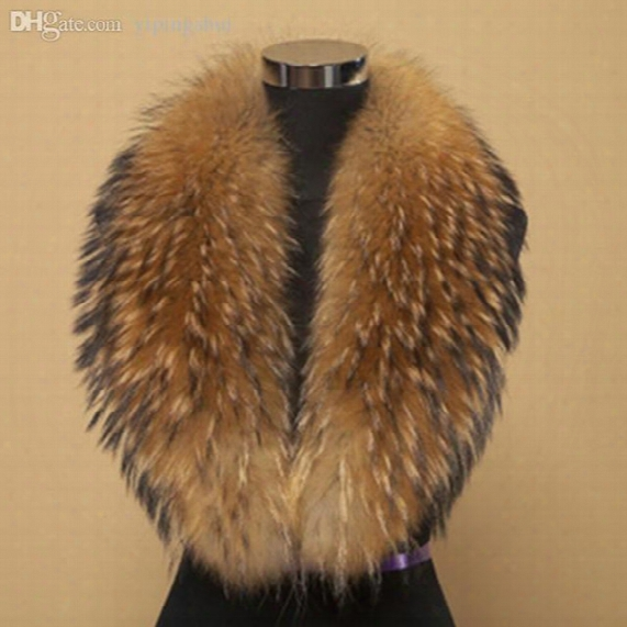 Wholesale-winter 100% Real Natural Raccoon Fur Collar & Womens Scarfs Fashion Coat Sweater Scarves Collar Luxury Raccoon Fur Neck Cap