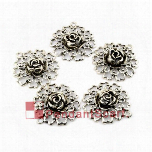 12pcs/lot, Top Fashion Diy Jewellery Necklace Scarf Findings Hollow Out Mental Zinc Alloy Flower Pendant Charm, Free Shipping, Ac0156