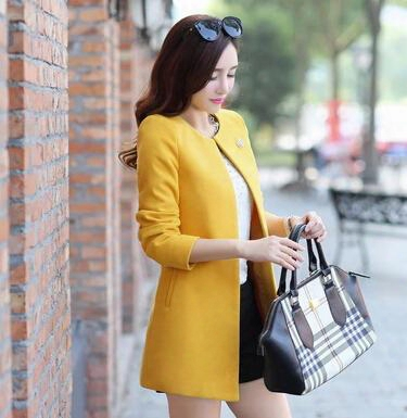 2015 Autumn And Winter Women's Outerwear Candy Color Trench Coat Medium-long Cardigan Collarless Overcoat With Free Brooch