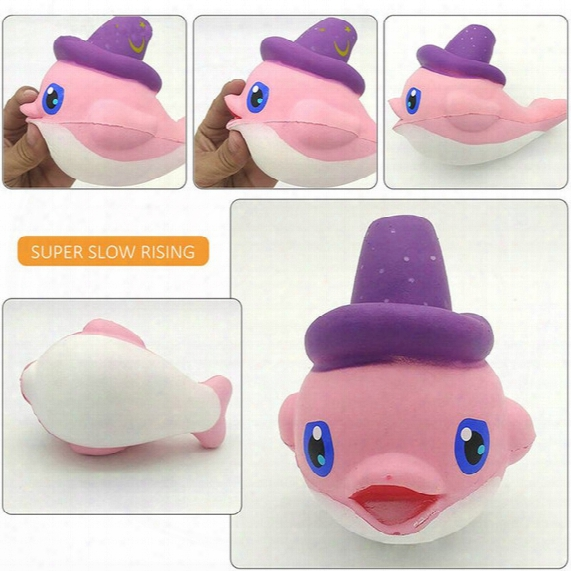 2017 New Arrival Jumbo 16cm Kawaii Cute Pink Whale Squishy Slow Rising Soft Cartoon Scent Bread Cake Bun Kid Toy Gift Wholesales