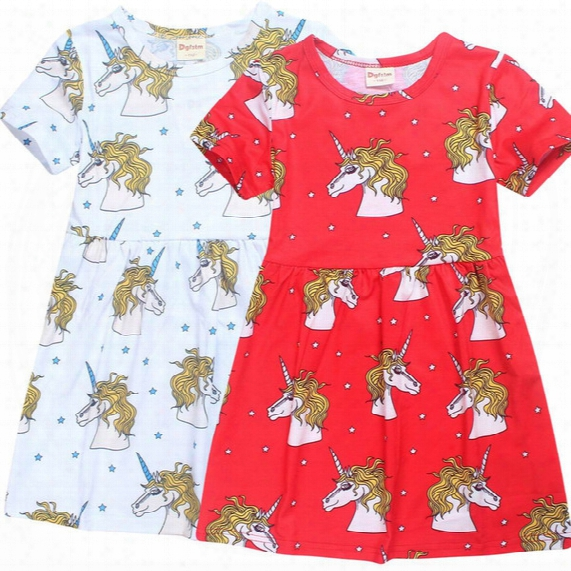 2017 Summer Autumn New Teenage Girls Dresses Unicorn Cartoon Cotton Dress Children Clothing 4-10t E6141