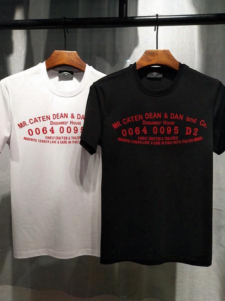 2017 Summer New High-end Men's Brand T-shirt Fashion Short Sleeve Cartoon 0064 0095d2 Printing Fashion T Shirt Men's Tops Tees