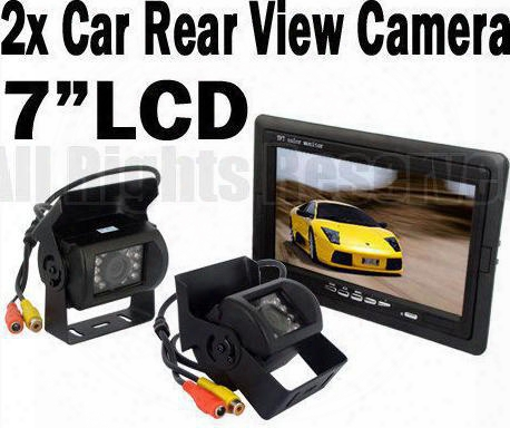 "2x 18 Led Ir Reverse Camera + 7"" Lcd Monitor Car Rear View Kit + Free 10m Cable For Bus Truck"