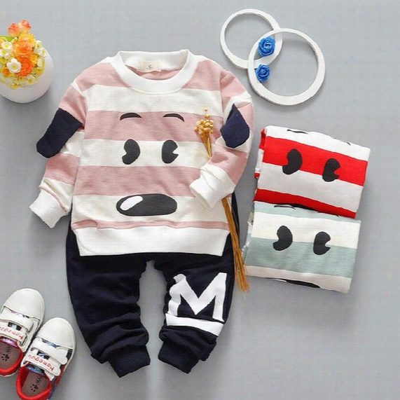 3 Colors Kids Boys Cartoon Sets 2017 Baby Boy Full Sleeve T-shirts + Paants 2pcs Outfits Boys Dog Print Suits Children Outwear Clothes