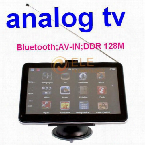 7 Inch Touch Screen Bluetooth Av In 4gb+ddr128m Wince6.0 Free Map Gps Analog Tv