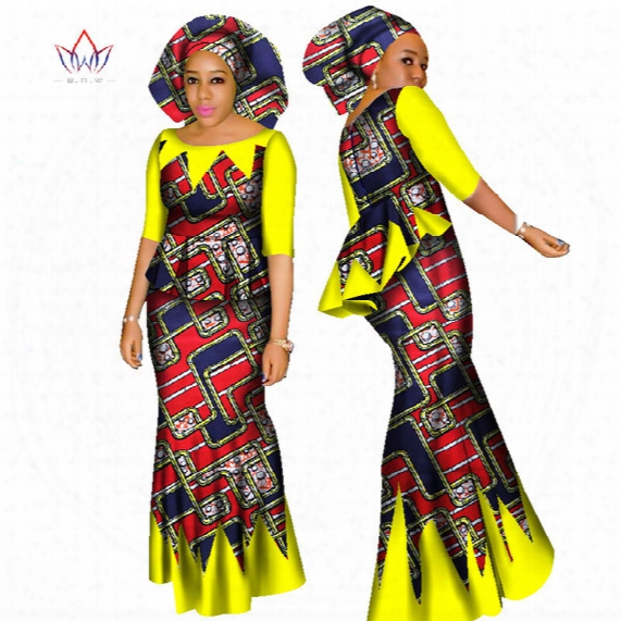Brw African Dashiki Crop Top And Skirt Set African Clothing For Women Cotton Ruched Two Piece Skirt Set Free Head Scarf Wy1437