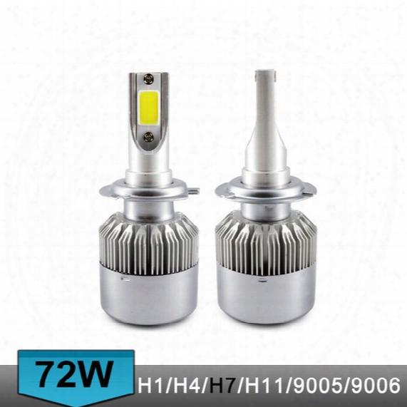 C6 Auto Led Headlight Bulbs H7 H1 H4 72w 7600lm Cob Chip 3000k 6000k Car Led Headlamp Lamp For Halogen Hid Bulb S2 H11 H3