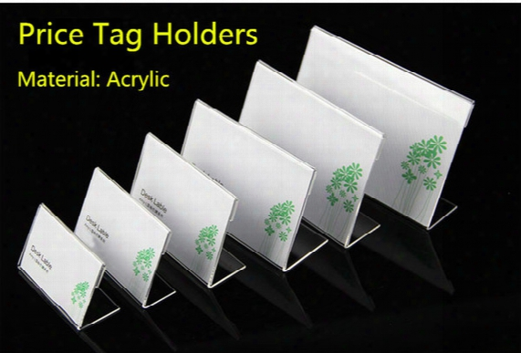 Clear 60x40mm L Shape Acrylic Table Sign Price Tag Label Display Paper Promotion Card Holder Stand 100pcs High Quality Free Shipping