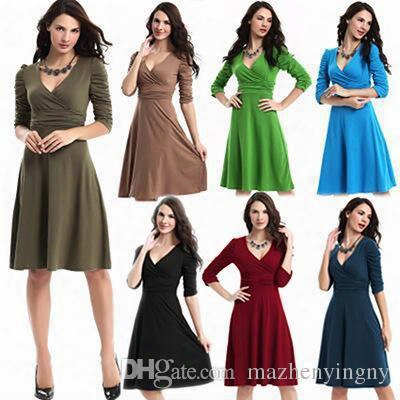 Dress Women Wedding Guest New Stanzino Cocktail 2017 Pure Color Women's Fashion Career In Europe And America, Deep V, Big Dress Byknm90