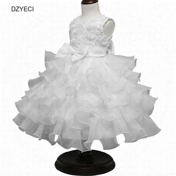 Floral Bow Dresses For Infant Baby Girl Costume Carnaval Bridesmaid Children Rose Lace Prom Princess Frock Clothes Kid Wedding Ceremony