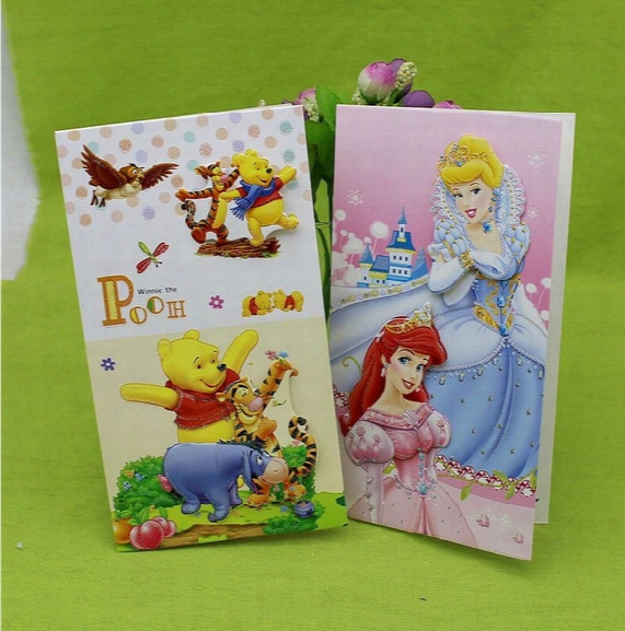 Free Shipping Kids Gift Cards 3d Birthday Cards Anniversary Post Cards Greetings Congratulation Fashion Cartoon Gifts Lovely Print Wholesale