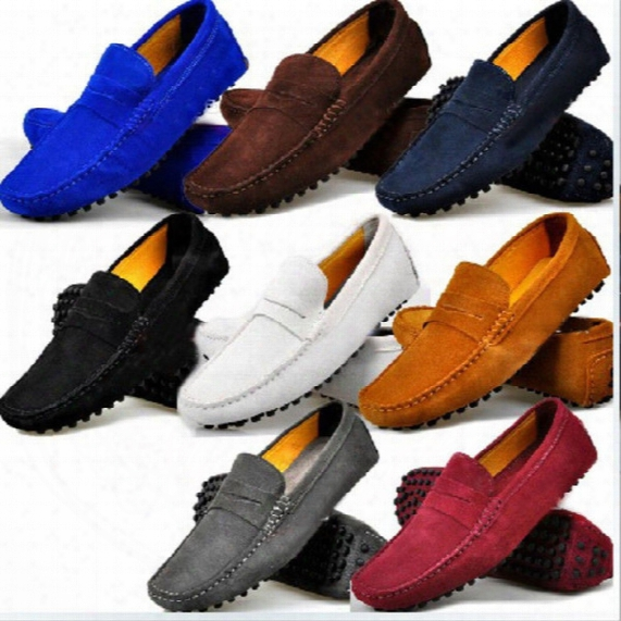 Free Shipping Us6-12 Genuine Leather Comfort Slip-on Penny Loafers Mens Car Shoes Moccasins Fashion