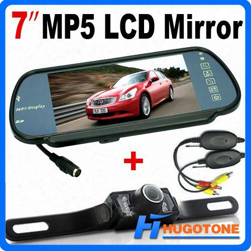 Hd 7 Inch Car Bluetooth Mp5 Rearview Camera Lcd Monitor Mirror Car Reversing Led Nightvision Back Up Camera