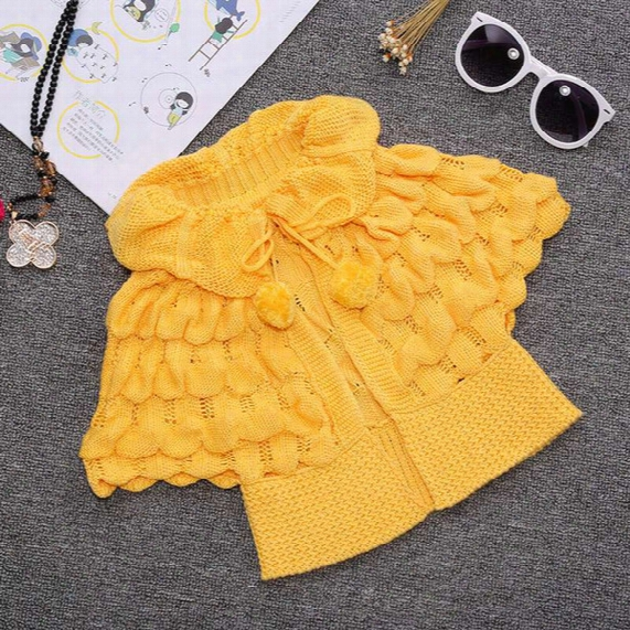 Ins Kids Girls Knit Puff Cardigan Baby Girl Batwing Poncho Babies Fall Winter Outwear Knit Sweaters Children's Clothes