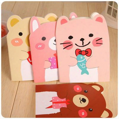 Korean Creative Stationery, Cute Little Bear Notebook, Small Animal Notebook, Cartoon Notebook