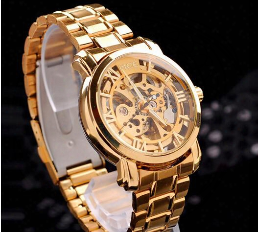 Lowest Whollsale Price Automatic Mechanical Watches High-grade Male Strip Gold Skeleton Stainless Stee Wrist Watch