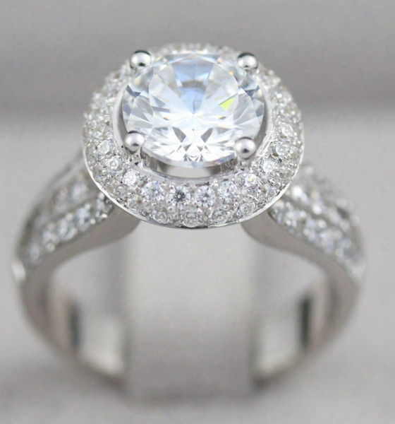 Natural Womens Si2 Diamond Halo Ring 14k White Gold 3.76 Carats Size 4 1/2 - 9