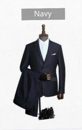 New Men's Business Career Suits Slim Single Row Of Two Buckle Flat Collar Side Slits Variety Groom Best Man Wedding Dress Suits
