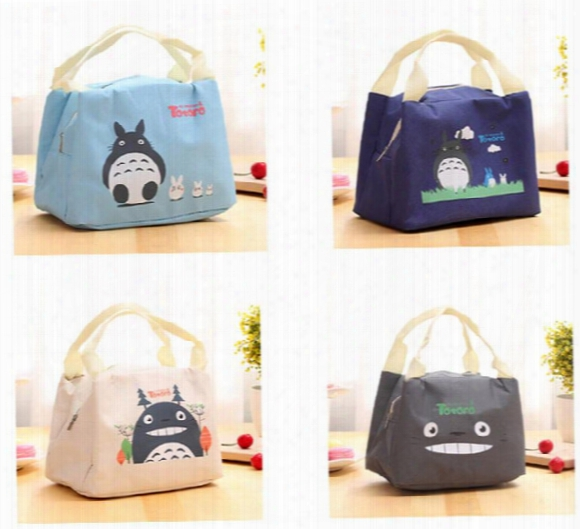 New Portable Cartoon Cute Lunch Bag Insulated Cold Canvas Picnic Totes Carry Case For Kids Women Thermal Bag