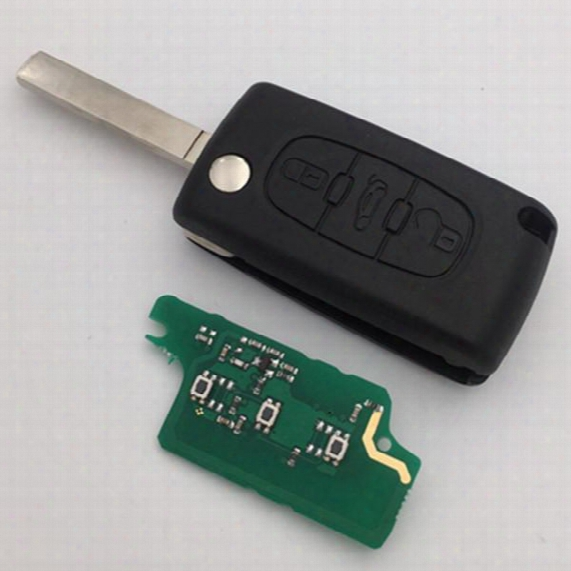 New Remote Car Key Ce0523 For Peugeot 207 307 407 607 3 Button Flip Remote Key Id46 7941 Chip 433mhz Va2 Blade