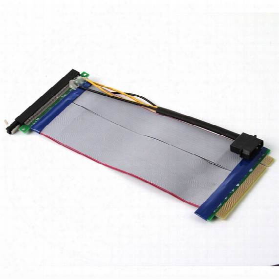 Pci-e Express 16x Riser Card Extender Ribbon Flex Adapter Cable With Power Connector For Bitcoin Miner
