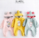 INS 2017 new fall 100% cotton baby kids climbing romper long sleeve Rabbit ears hat cut cartoon pattern print romper baby girl boy romper