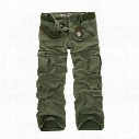 Plus size Men's straight loose trouses Fashion Designer Mens work tooling pants more pockets ARMY CARGO CAMO COMBAT worker pants men