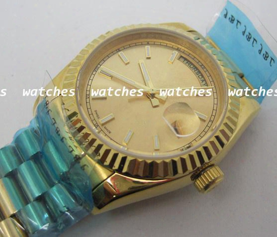 Top Quality Men Watch Mechanical Automatic Watches Luxury Gold Color Wristwatch R39