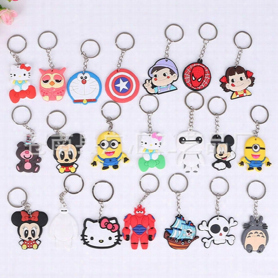 Wholesale Cute Cartoon Mickey Mouse Hello Kitty Skeleton Car Key Chains Many Styles Keychain Wedding Favors Key Ring Holders