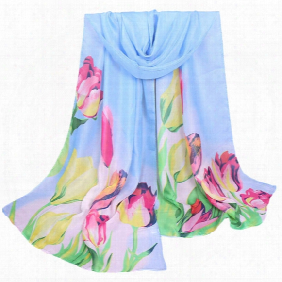 Wholesale- Foulard Femme Lovely Scarf Women Ladies Large Flowers Pattern Print Chiffon Scarf Warm Wrap Shawl Hijab Cachecol Feminino Hot#yl