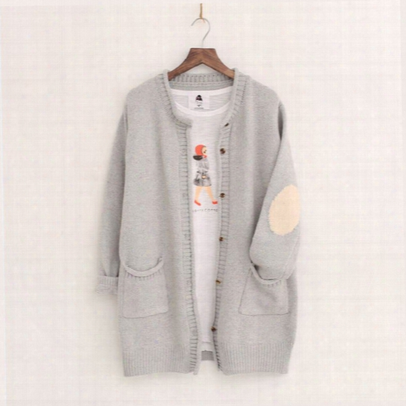 Wholesale-new Autumn Spring Women Sweater Cardigans Casual Warm Long Design Female Knitted Sweater Solid Cardigan Sweater Lady Patch