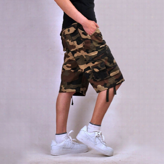Wholesale-size 30-44 Cotton Plus Size Shorts Zip Overalls Loose Casual Middle Length Camouflage Cargo Shorts Camo Man