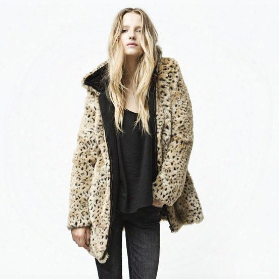Winter/autumn New Hot Sale Designer Women's Fashion Sexy Leopard Pattern Hooded Long Sleeve Cardigan Faux Fur Coat