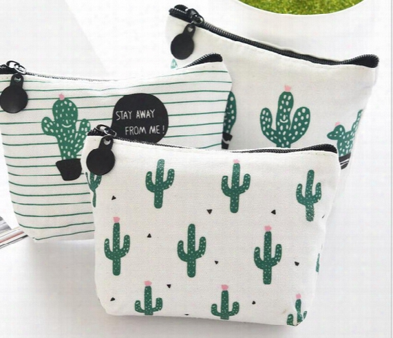 Womens Bag Cartoon Makeup Bags Cute Cactus Mini Coin Bag Purse Wallet