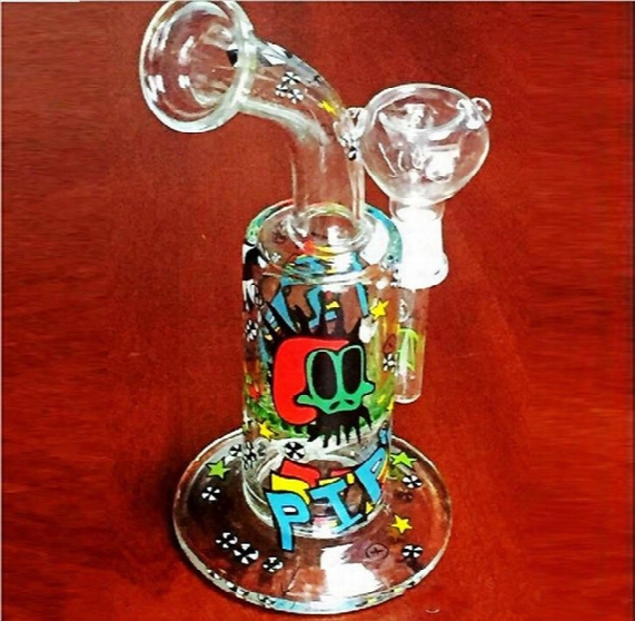 11 Inch Tall Cartoon Bongs With Bowl 14.4mm Joint Size Thick Base Colorful Oil Rigs Glass Bongs Inline Percolator Recyler Glass Bongs
