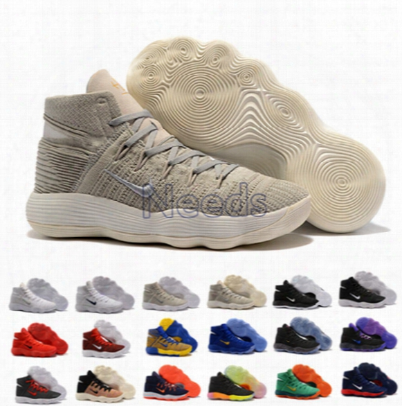 18 Colors React Hyperdunk 2017 Cargo Khaki High Quality Mesh Fly Knit Basketball Shoes With Box Size 40-46