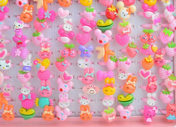 200pcs/lot Animals Cartoon Assorted Plated Resin Baby Girls Children Adjustable Rings Cartoon Finger Tip Ring Kid Party Jewelry T3113