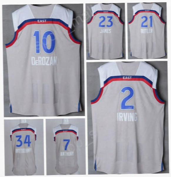 2017 All Star Basketball Jerseys 2 Kyrie Irving 21 Jimmy Butler 23  Lebron James 10 Demar Derozan 7 Carmelo Anthony 34 Giannis Antetokounmpo