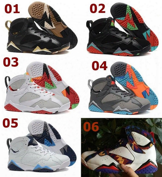 2017 New Air Retro 7 Vii Mens Basketball Shoe Raptor Guyz Hares Olympic Bordeaux Gg Cardinal Raptor French Blue White Bred Gold Sport Shoes