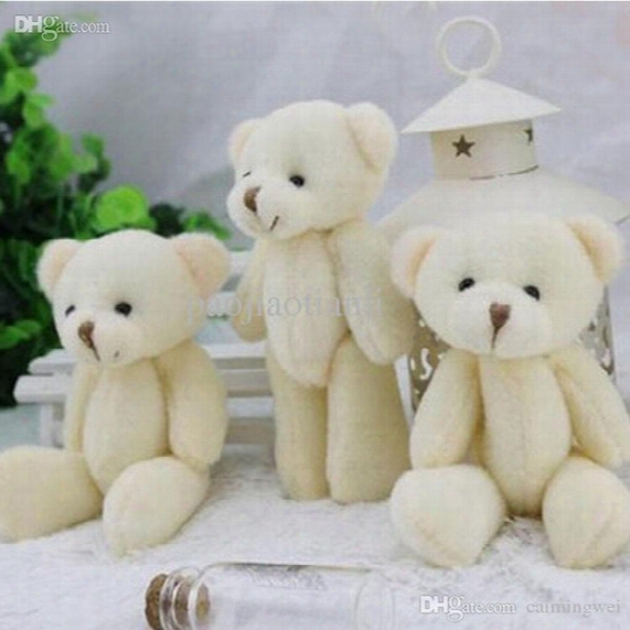60pcs Wholesale 12cm White Jointed Mini Teddy Bear Small Teddy Bear /cartoon Bouquet Toy/wedding Gifts