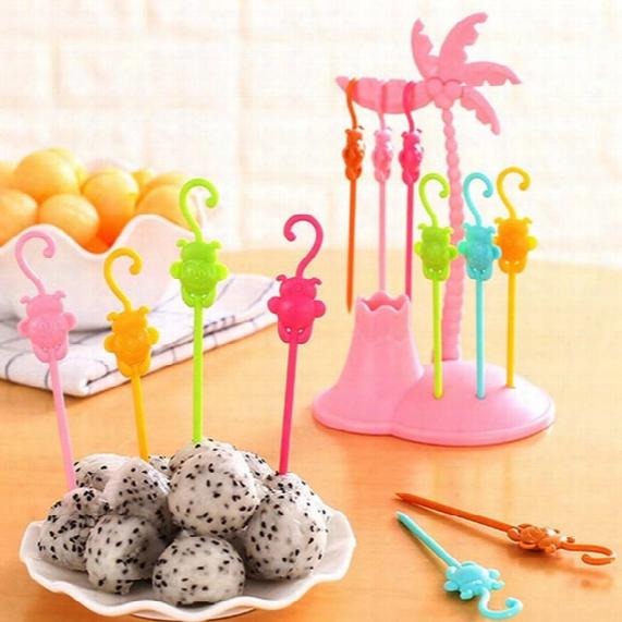 6pcs/set Cartoon Coconut Monkeys Party Fruit Forks Party Gift Fruit Forks Plastic Vegetable Fruit Fork Kitchen Party Tools