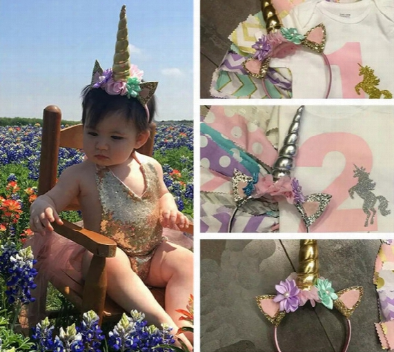Baby Unicorn Horn Hair Decorative Accessoriess New Cartoon Sequin Ear Flower Girls Birthday Party Diy Hair Halloween Headband C1499